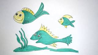 How to Draw Fish | Learn Colors | draw a fish step by step