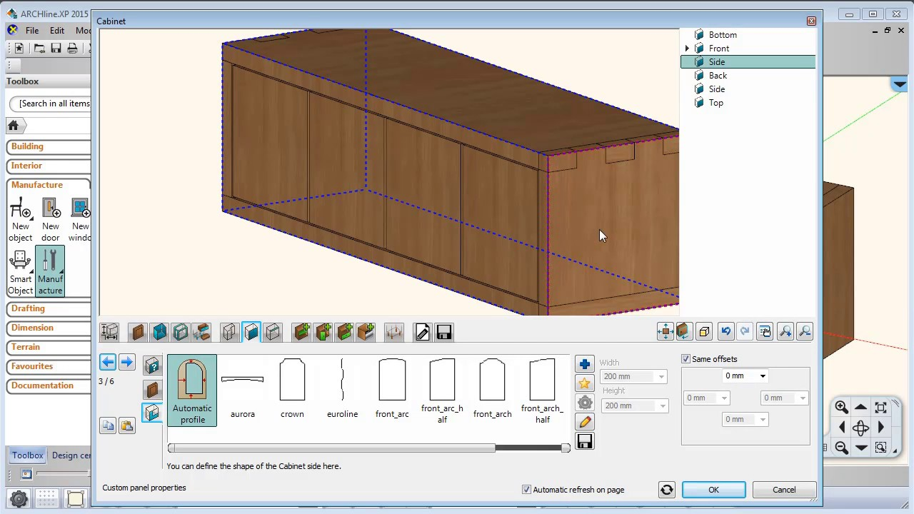 ARCHLineXP Tutorial KBB Cabinet design Small cabinet with