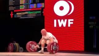 Dmytro Chumak (UKR), Aurimas Didzbalis (LTU), & Almas Uteshov (KAZ) 178/180/180kg Snatch 2015 Worlds