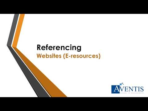 Referencing Website (E-resources) - Aventis School of Management