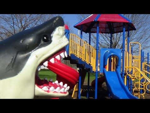 "Shark Attacks Girl At Playground ""Sharknado Season, Watchout"" Mega & Great White Shark Toys"