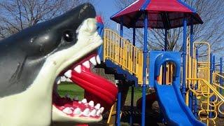 shark attacks girl at playground sharknado season watchout mega great white shark toys