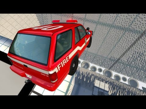 Beamng drive - High Speed Car Jumps Into Spikes #2 ( Spike Fall Map )