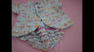 Vestido para bebê com manga e abertura atrás passo a passo