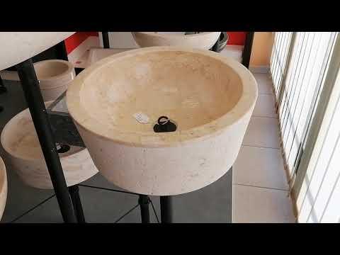 Lavabo bagno cilindrico da appoggio in marmo / pietra beige 40 x h.15 cm.