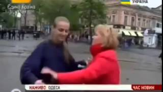 В Одессе журналистку 5 канала в прямом эфире послали на 'хер'