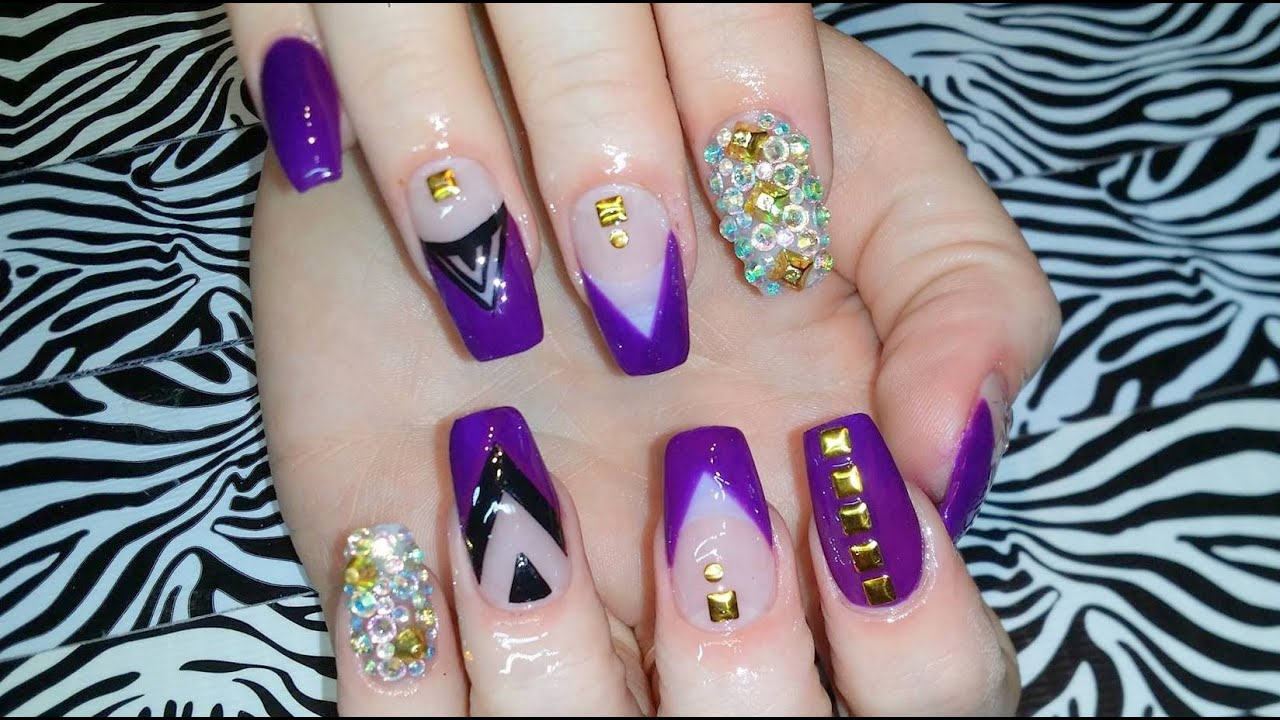 Acrylic Nails L Full Set L Purple Delight L Nail Design Youtube