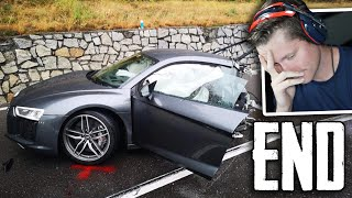 IDIOT CRASHES NEW AUDI R8 - Accident - The End