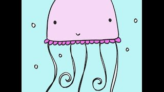 How To Draw A Cartoon Jellyfish Simple Drawing Lesson For Kids