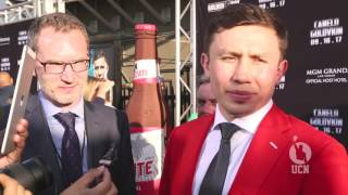 Gennady Golovkin and Tom Loeffler on the red carpet for Canelo-GGG