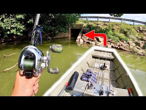 SNEAKING My Jon Boat In HIDDEN Roadside Tunnel!!! (CAUGHT TONS OF FISH)