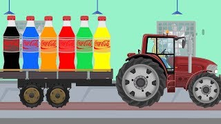 Let's learn Colors in English thanks to Coca Cola bottles for Kids | Cartoons Tractors