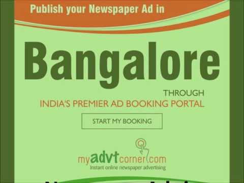 Bangalore Newspaper Ads, Bangalore Classified Ad Booking Online