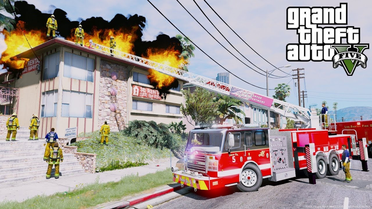 GTA 5 Mods New Fire & EMS Pack - Working Ladder, Engine, Heavy Rescue,  Freightliner & Ford Ambulance
