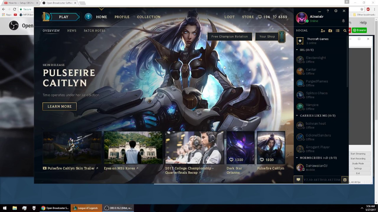 HOW TO Setup OBS Studio for Streaming League of Legends (2017)