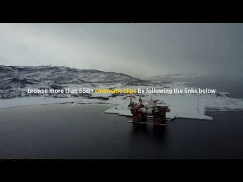 Aerial of Arctic Offshore Oil Rig at Polar Sunset in Norway // Royalty Free Stock Footage