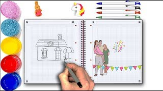 How to Draw Happy Family near New House for KIDS - Rocket Drwng Page for Children