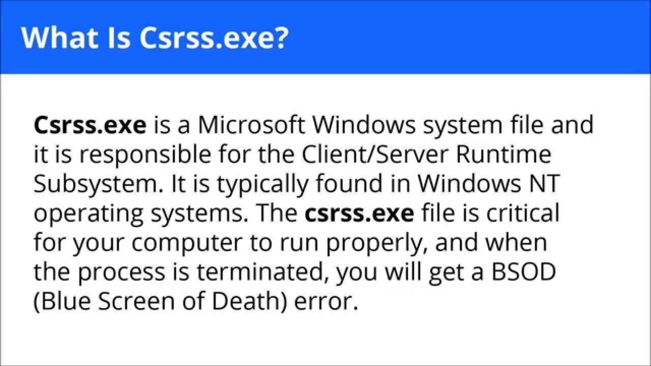csrss.exe crash