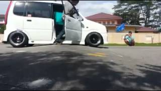 Modified Malaysia HellaFlush Perodua Myvi and Kenari Lowered and stuck on speed bump FUNNY