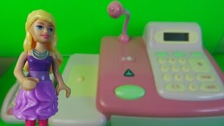 Barbie goes Shopping using her Chip and Pin Credit Card at the Toy Cash Register & Lazer Scanner Set