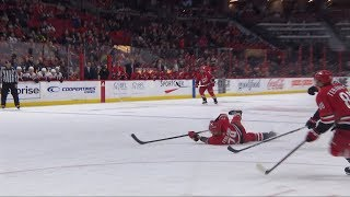Micheal Ferland manages to set up Teravainen despite falling to the ice