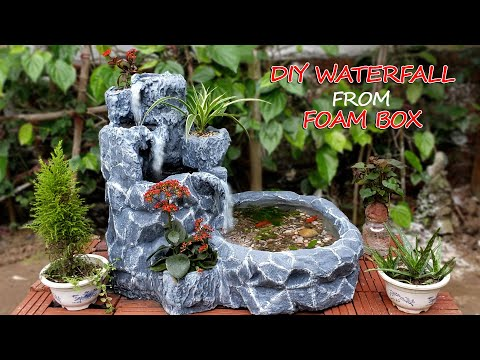 Amazing Ideas - Make Beautiful Waterfall From Foam Box And Cement - For Your Garden