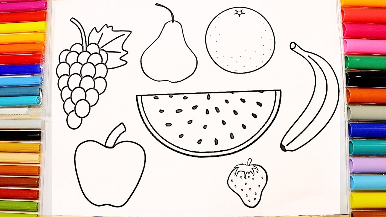 Names Fruits - Coloring Pages for Children - YouTube | fruits coloring pages for preschoolers