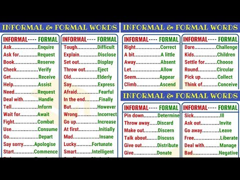 FORMAL And INFORMAL Words In English: 400+ English Words To Expand Your Vocabulary