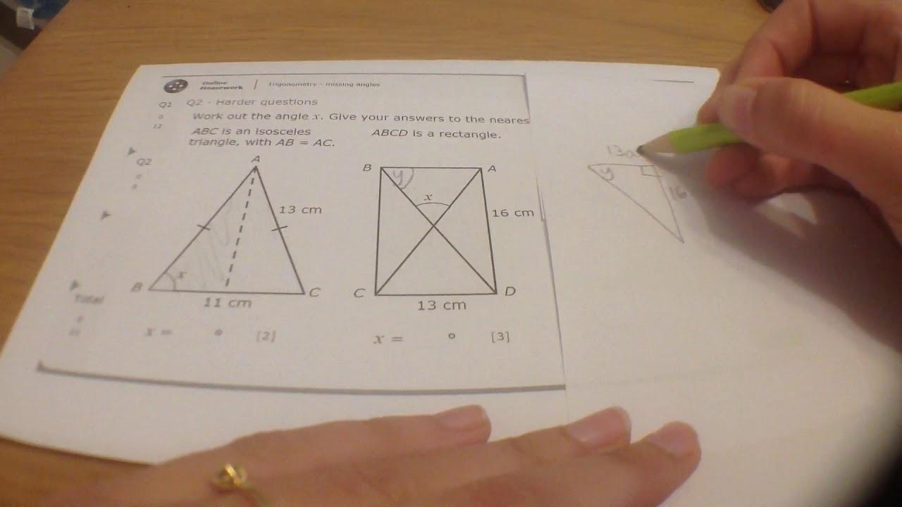 10ma1 MyMaths trig missing angles Q2 - YouTube