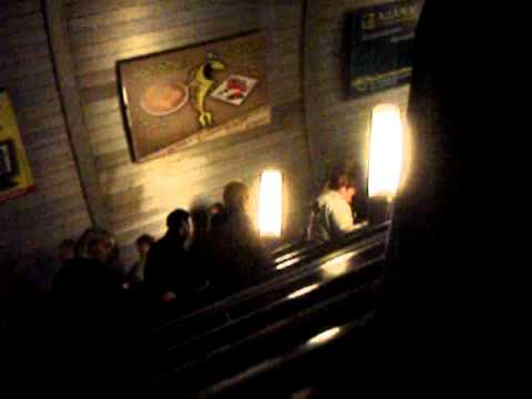 Long escalators up out of Moscow's bomb shelter metros