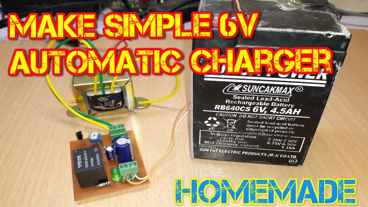 how to make simple 6 volt automatic battery charger at home [ 1280 x 720 Pixel ]