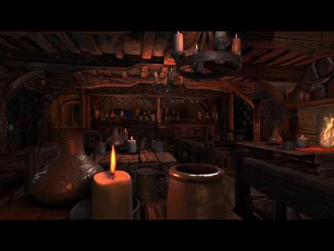 ASMR - Medieval Tavern Ambience - (Fireplace sounds, storm & rain, wind...)