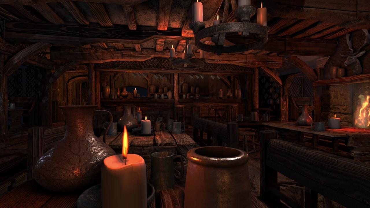 ASMR - Medieval Tavern Ambience - (Fireplace sounds, storm & rain ...