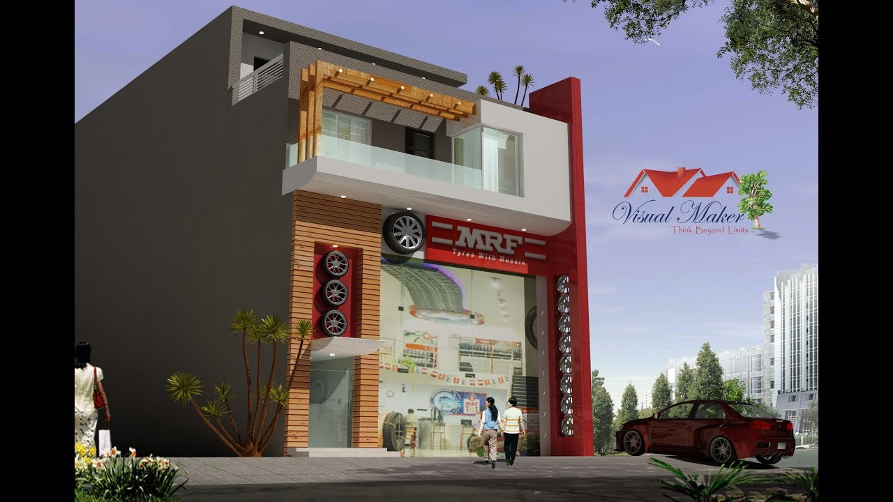 Design Of Front Elevation Of Commercial Building : Showroom building exterior designs elevation