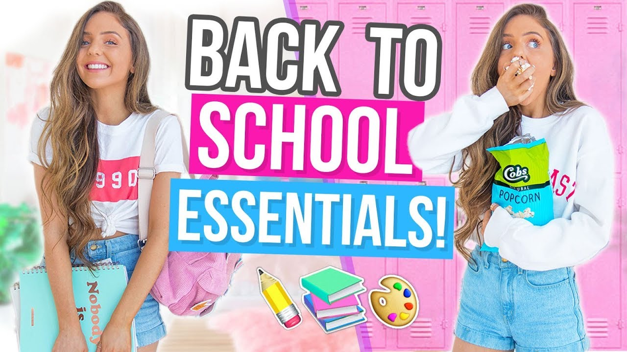SCHOOL ESSENTIALS! DIY Snack Ideas,  Back To School Makeup + Outfit Ideas 2017!
