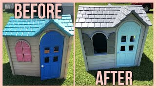PLASTIC PLAYHOUSE MAKEOVER - DIY