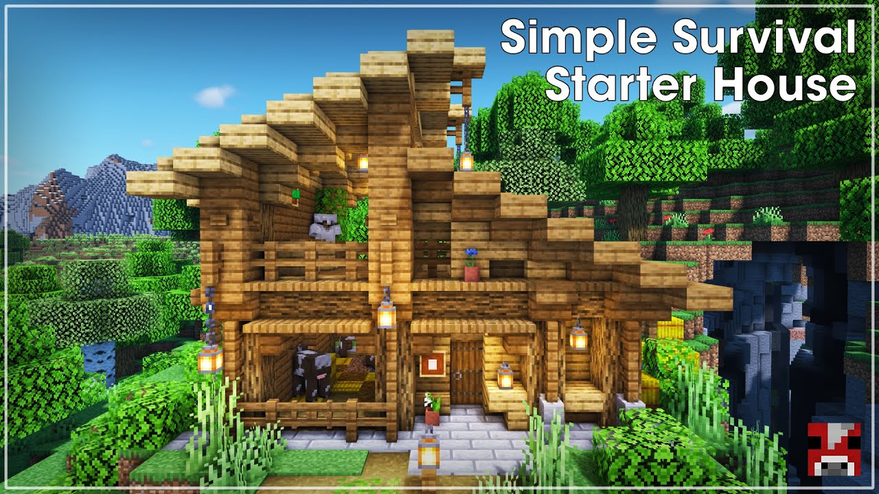Minecraft Timelapse - Easy Survival Starter House with a Slanted Roof (WORLD DOWNLOAD