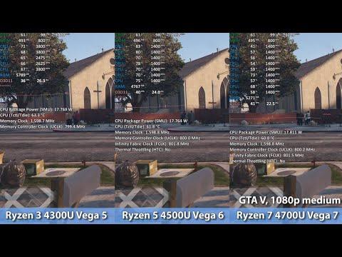 Amd Ryzen 3 4300u Vega 5 Vs Ryzen 5 4500u Vega 6 Vs Ryzen 7 4700u Vega 7 Comparison Youtube