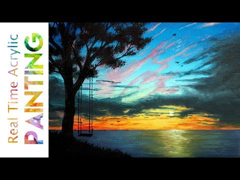 PAINTING A SUMMER COTTAGE SUNSET VIEW IN REAL TIME WITH ACRYLICS!