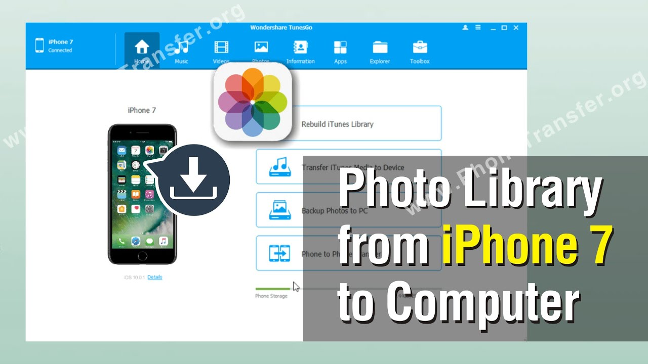 how to backup photo library from iphone to pc