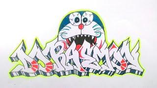 Cara menggambar graffiti doraemon