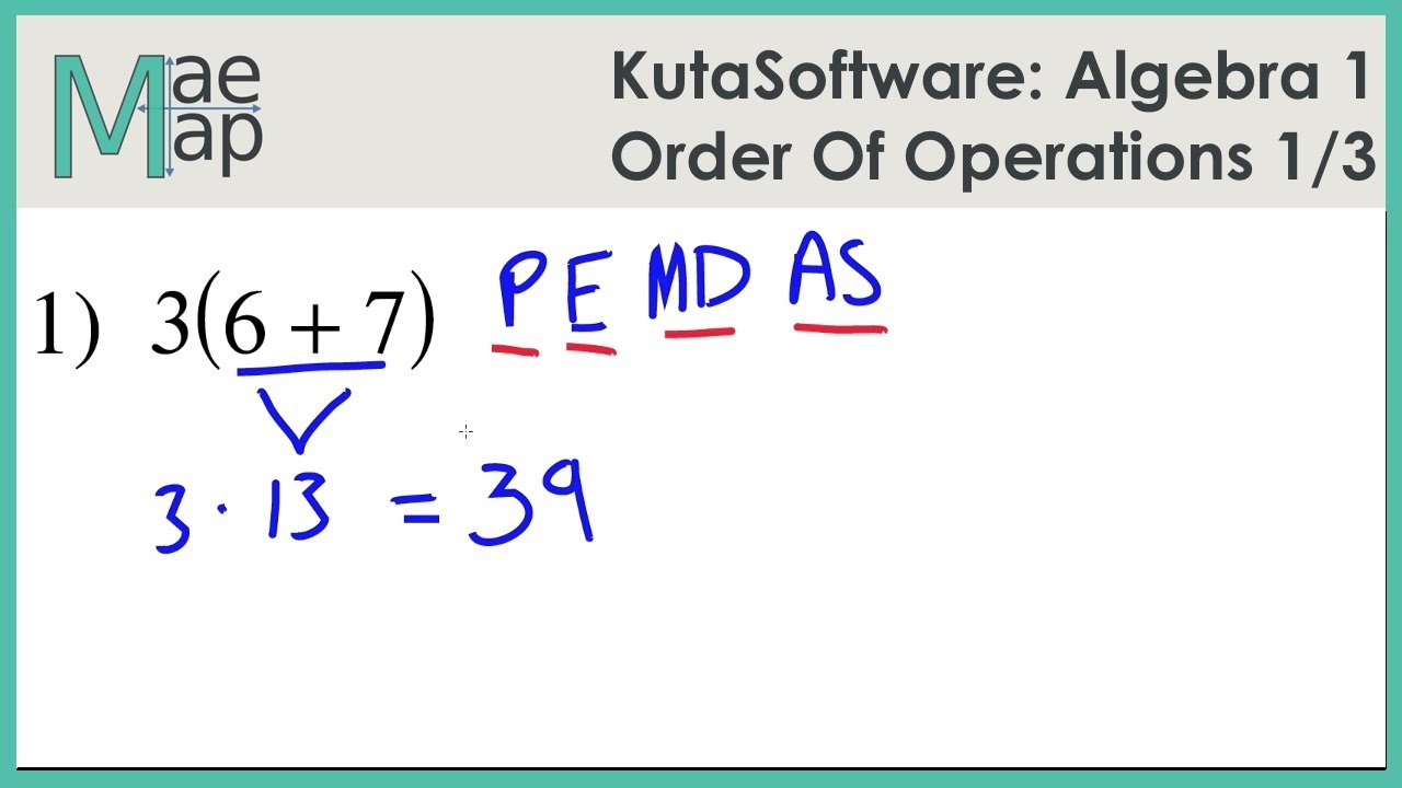 KutaSoftware: Algebra 1- Order of Operations Part 1