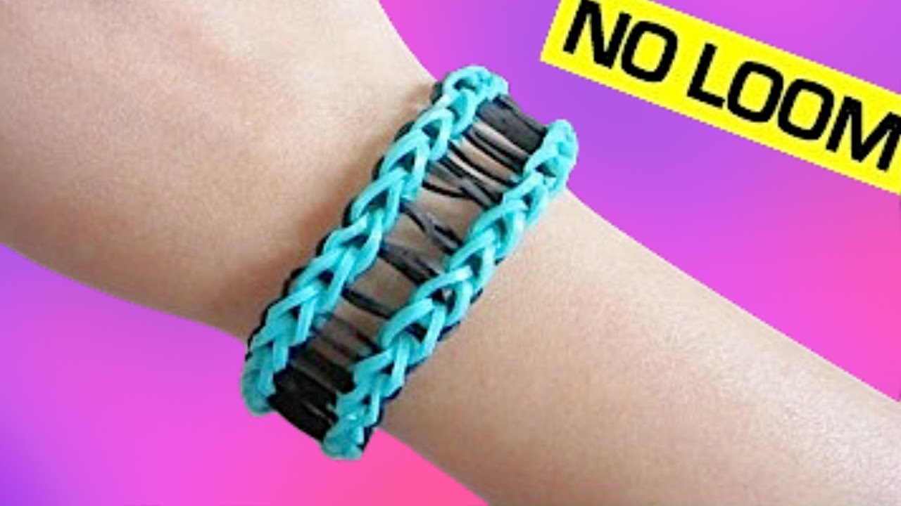 Railroad Rainbow Loom Bracelet Without Loom Using 2 Forks