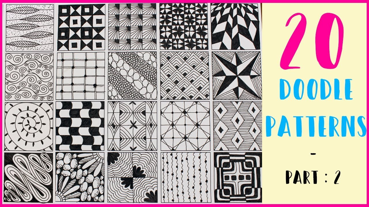 20 EASY DOODLE PATTERNS - PART : 2 | Step by Step | Zentangle patterns