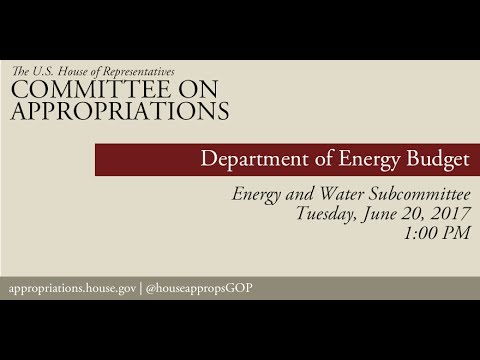 Hearing: Department of Energy Budget (EventID=106141)