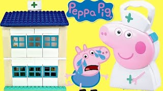 PEPPA PIG Hospital DUPLO Like Lego Build Set with George, Mommy, Daddy & Nurse Carry Case