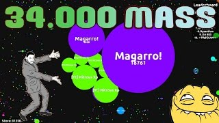 AGARIO 34.000 MASS GAMEPLAY - TEAMWORK ON PARTY MODE