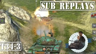 Subscriber Replay T34-3 Amazing Comeback 4563 dmg 5 kill WOT Blitz||