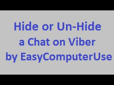 How To Hide or Un-Hide Chats on Viber - Step by Step