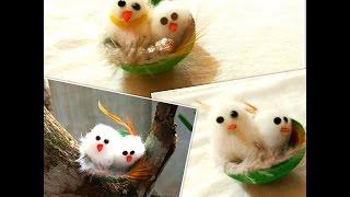 how to make cute birds in nest . miniature birds in nest